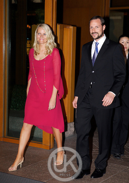 Crown Prince Haakon & Crown Princess Mette Marit of Norway leave The Grand Hyatt Hotel in Seoul to have dinner with The Prime Minister on the first day of their four day visit to South Korea..