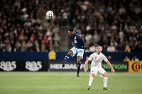 CARSON, CA - MARCH 07: Janio Bikel #19 of the Vancouver Whitecaps heads a ball during a game between Vancouver Whitecaps and Los Angeles Galaxy at Dignity Health Sports Park on March 07, 2020 in Carson, California.