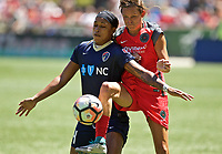 Portland, OR - Saturday July 15, 2017: Jessica McDonald, Emily Menges during a regular season National Women's Soccer League (NWSL) match between the Portland Thorns FC and the North Carolina Courage at Providence Park.