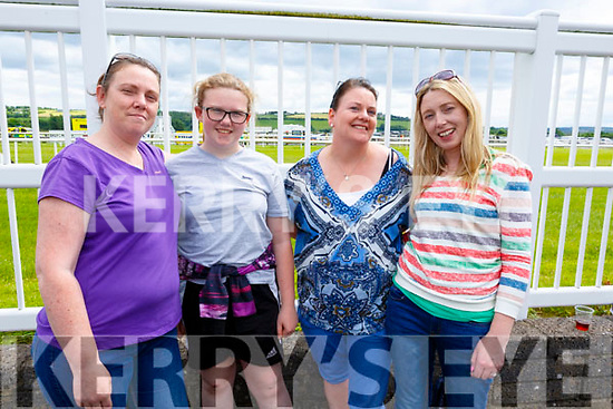 All the way from Shanagolden Limerick and enjoying the race meet at the Listowel Races on Sunday. L-r, Louise Hefferon, Ellie Munnelly, Brid Walsh and Collette Flahive.