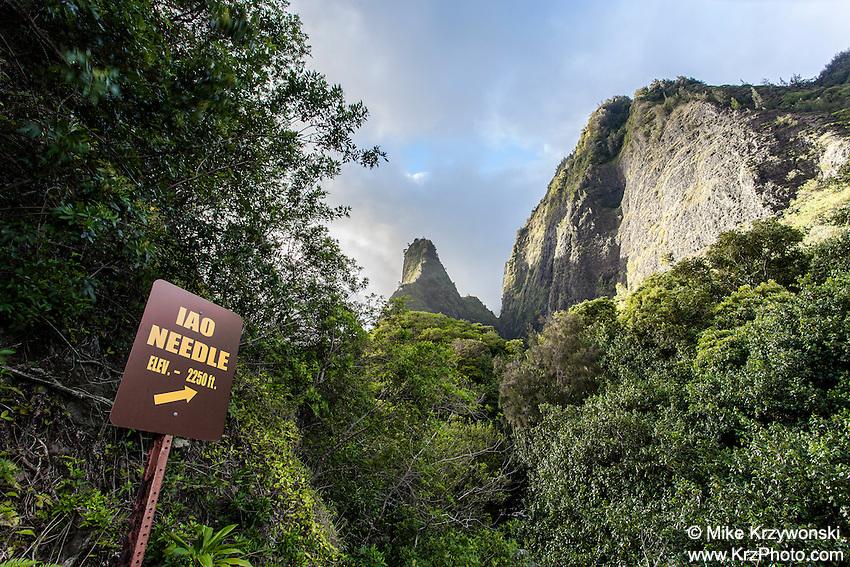 Sign w/ arrow pointing to Iao Needle, Iao Valley State Park, Wailuku, Maui
