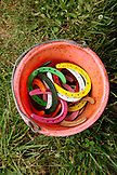 USA, Tennessee, Nashville, Iroquois Steeplechase, a bucket of lucky horseshoes next to the jockey weigh-in station