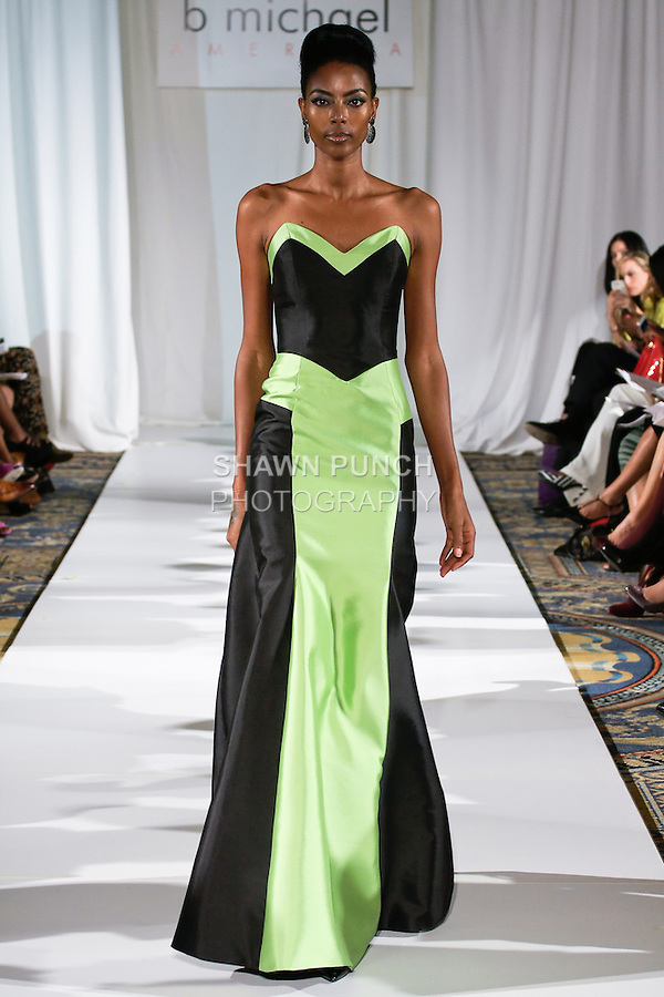 Gate walks runway in a black/peridot silk faced wool contrast mermaid gown, from the b Michael AMERICA Couture Spring 2013 collection during Mercedes-Benz Fashion Week Spring 2013, at the Jumeirah Essex House on September 12, 2012.