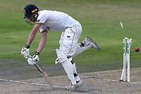 Tom Westley of Essex is bowled out by Joe Mennie during Lancashire CCC vs Essex CCC, Specsavers County Championship Division 1 Cricket at Emirates Old Trafford on 10th June 2018