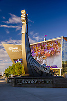 Viking ship sign outside the USBank Stadium in Minneapolis, MN.