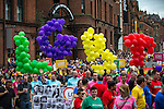 © Joel Goodman - 07973 332324 . 27/08/2016 . Manchester , UK . Annual Pride Parade through Manchester City Centre as part of Manchester Gay Pride's Big Weekend . Photo credit : Joel Goodman