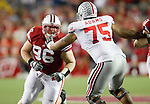 Wisconsin Badgers defensive lineman Beau Allen (96) battles Ohio State Buckeyes offensive lineman Mike Adams (75) during an NCAA college football game on October 16, 2010 at Camp Randall Stadium in Madison, Wisconsin. The Badgers beat the Buckeyes 31-18. (Photo by David Stluka)