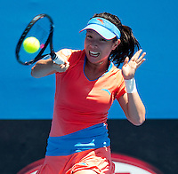JIE ZHENG (CHN) against ROBERTA VINCI (ITA) in the second round of the Women's Singles. Jie Zheng beat Roberta Vinci 6-4 6-2..19/01/2012, 19th January 2012, 19.01.2012..The Australian Open, Melbourne Park, Melbourne,Victoria, Australia.@AMN IMAGES, Frey, Advantage Media Network, 30, Cleveland Street, London, W1T 4JD .Tel - +44 208 947 0100..email - mfrey@advantagemedianet.com..www.amnimages.photoshelter.com.