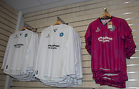 The Goalkeeper Shirts on display in the club shop during the Sky Bet League 2 match between Wycombe Wanderers and York City at Adams Park, High Wycombe, England on 8 August 2015. Photo by Andy Rowland.