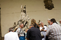 Tourists in Piazza Signoria at the Loggia dei Lanzi, Florence, Italy, Europe, 2007, ©Stephen Blake Farrington