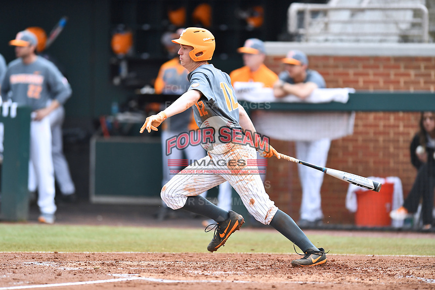 Tennessee Volunteers third baseman Wyatt Stapp (12) swings at a pitch during a game against the University of North Carolina Greensboro (UNCG) Spartans at Lindsey Nelson Stadium on February 24, 2018 in Knoxville, Tennessee. The Volunteers defeated Spartans 11-4. (Tony Farlow/Four Seam Images)