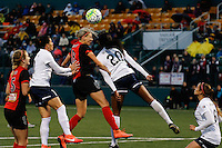 Rochester, NY - Friday April 29, 2016: Washington Spirit forward Cheyna Williams (20) goes up for a header with Western New York Flash midfielder Alanna Kennedy (8). The Washington Spirit defeated the Western New York Flash 3-0 during a National Women's Soccer League (NWSL) match at Sahlen's Stadium.