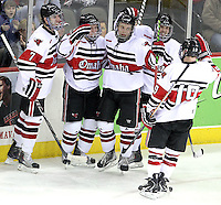 University of Nebraska Omaha celebrates Brock Montpetit's goal during the third period. UNO beat Alabama-Huntsville 4-0 Friday night at Qwest Center Omaha.  (Photo by Michelle Bishop)
