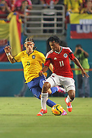 Brazil's Filipe Luis vs Columbia's Juan Guillermo Cuadrado, Brazil vs Columbia Sun Life Stadium Sept 5th 2014.
