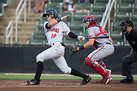 Mitch Roman (10) of the Kannapolis Intimidators follows through on his swing against the Hagerstown Suns at Kannapolis Intimidators Stadium on June 14, 2017 in Kannapolis, North Carolina.  The Intimidators defeated the Suns 10-1 in game two of a double-header.  (Brian Westerholt/Four Seam Images)