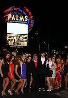 "27 September 2017 - Hugh Marston Hefner aka ""Hef"" was an American magazine publisher, editor, businessman, and international playboy best known as the editor-in-chief and publisher of Playboy magazine, which he founded in 1953. Hefner was the founder and chief creative officer of Playboy Enterprises, the publishing group that operates the magazine. Hefner was also a political activist and philanthropist. File Photo: 09 April 2011 - Las Vegas, Nevada - Hugh Hefner, Marsten Hefner, Claire Sinclaire, Playmates.  Hugh Hefner celebrates his 85 birthday at the Palms Las Vegas.  Photo Credit: MJT/AdMedia (Newscom TagID: admphotos643199.jpg) [Photo via Newscom]"
