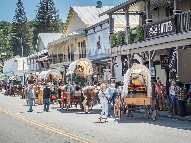 Days of '49 wagon train on Main Street, Sutter Creek, Calif.