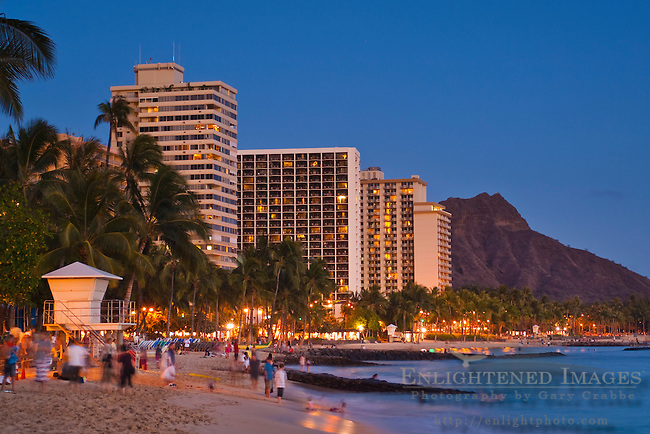 Evening light over Diamond Head and Waikiki Beach, Honolulu, Oahu, Hawaii