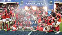 Saracens celebrate winning the Champions cup<br /> <br /> Photographer Rachel Holborn/CameraSport<br /> <br /> European Rugby Champions Cup Final - Clermont Auvergne v Saracens - Saturday 13th May 2017 - BT Murrayfield, Edinburgh<br /> <br /> World Copyright &copy; 2017 CameraSport. All rights reserved. 43 Linden Ave. Countesthorpe. Leicester. England. LE8 5PG - Tel: +44 (0) 116 277 4147 - admin@camerasport.com - www.camerasport.com