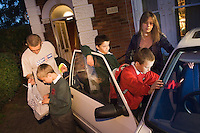 A family is housed by the council in a B&B miles away from their original home.  The husband finds a job, but because he can't drive with his illness, his wife has to wake the children up in the early hours, get them into the car, drive her husband to his early start at work and then get the children back to start school...True story that happened in Bristol area posed by models.