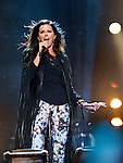 Karen Fairchild of Little Big Town performs at LP Field during Day 2 of the 2013 CMA Music Festival in Nashville, Tennessee.