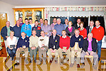 Castleisland Golf club President Donie O'Shea with the award winners from the Presidents day on Sunday evening front row l-r: Kim Mullins, Tomas Brennan, Terence McQuinn, Patsy Sweeney, Donie O'Shea, Tom Nix, John Curtin, Kevin Fitzgerald. Middle row: Donal de Barra, David Donoghue, Michael Brosnahan, Seamus O'Neill, John Geaney, Marian Lyons, Mairead O'Sullivan, Ben Foley Captain, Liam Murphy. Back row: John Chester, Tom Lawlor, Jamie O'Connor, Liam Kingston, Martin O'Donoghue, Timmy McAulliffe and Donal Ryan ..