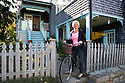 GLOUCESTER, MA.--Sept. 19, 2009- Sigrid Olsen keeps a vintage Raleigh bicycle at her home in Rocky Neck, an artists' colony in Gloucester.  CREDIT: Jodi Hilton for The New York Times