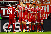 September 12th 2017, Munich, Germany, Champions League football, Bayern Munich versus Anderlecht; Arjen Robben of Bayern Munchen with Thiago Alcantara scores and celebrates   during the match