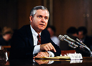 February 18th 1987, Washington, DC, USA. Director of Central Intelligence (CIA) Robert Gates during the Iran-Contra hearings.