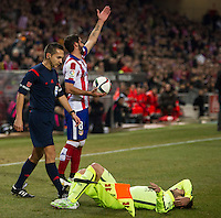 Atletico de Madrid´s Raul Garcia and Barcelona´s Jordi Alba during 2014-15 Spanish King Cup match between Atletico de Madrid and Barcelona at Vicente Calderon stadium in Madrid, Spain. January 28, 2015. (ALTERPHOTOS/Luis Fernandez) /nortephoto.com<br />