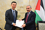 Palestinian Prime Minister Mohammad Ishtayeh, receives a congratulation message from the chairman of Chinese State Council, in the West Bank city of Ramallah, April 18, 2019. Photo by Prime Minister Office