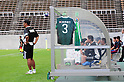 "General view,SEPTEMBER 3, 2011 - Football / Soccer :..Matsumoto Yamaga FC head coach Yoshiyuki Kato stands in front of the bench hung with the late Naoki Matsuda's shirt before the 91st Emperor's Cup first round match between Matsumoto Yamaga F.C. 3-0 Maruoka Phoenix at Matsumoto Stadium ""Alwin"" in Nagano, Japan. (Photo by AFLO)"