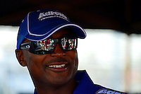 Sept. 28, 2012; Madison, IL, USA: NHRA top fuel dragster driver Antron Brown during qualifying for the Midwest Nationals at Gateway Motorsports Park. Mandatory Credit: Mark J. Rebilas-