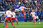 16.03.2019, VELTINS Arena, Gelsenkirchen, Deutschland, GER, 1. FBL, FC Schalke 04 vs. RB Leipzig<br /> <br /> DFL REGULATIONS PROHIBIT ANY USE OF PHOTOGRAPHS AS IMAGE SEQUENCES AND/OR QUASI-VIDEO.<br /> <br /> im Bild tweik Breel Embolo (#36 Schalke) und Tyler Adams (#14 Leipzig)<br /> <br /> Foto © nordphoto / Kurth