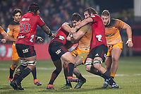 Jaguares' Pablo Matera is tackled during the 2019 Super Rugby final between the Crusaders and Jaguares at Orangetheory Stadium in Christchurch, New Zealand on Saturday, 6 July 2019. Photo: Joe Johnson / lintottphoto.co.nz