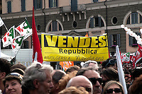 Roma 13 Marzo 2010.Manifestazione del Centrosinistra a Piazza del Popolo  per protestare  contro il decreto salva-liste per le elezioni regionali  approvato dal Governo Berlusconi. Uno striscione contro il Presidente della Repubblica  Giorgio Napolitano.Roma March 13, 2010.The parties of the center left against the decree-saving lists for regional elections approved by the Berlusconi government.A banner against the President of the Republic Giorgio Napolitano