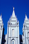 Utah, Salt Lake City, Temple at Temple Square..Photo # utsalt606.  Photo copyright Lee Foster.  .