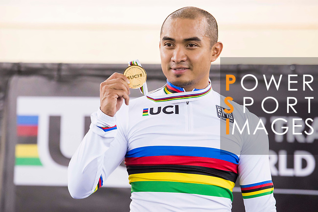 Mohd Azizulhasni Awang of the Malaysia Team celebrates his victory in the Men's Keirin Finals as part of the 2017 UCI Track Cycling World Championships on 13 April 2017, in Hong Kong Velodrome, Hong Kong, China. Photo by Chris Wong / Power Sport Images