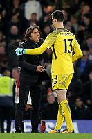 Chelsea Manager, Antonio Conte celebrates with Thibaut Courtois at the final whistle during Chelsea vs Manchester United, Premier League Football at Stamford Bridge on 5th November 2017