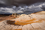 Unique and amazing rock formations in the White Pocket of the Pariah Plateau in Northern Arizona in the Vermillion Cliffs National Monument.