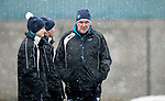 St Johnstone Training&hellip;22.01.19   McDiarmid Park<br />Manager Tommy Wright talks with Alec Cleland andPhysio Mel Stewart during a snowy training session this morning ahead of tomorrow night&rsquo;s game against Livingston.<br />Picture by Graeme Hart.<br />Copyright Perthshire Picture Agency<br />Tel: 01738 623350  Mobile: 07990 594431
