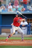 Fort Myers Miracle Ben Rortvedt (15) at bat during a Florida State League game against the Charlotte Stone Crabs on April 6, 2019 at Charlotte Sports Park in Port Charlotte, Florida.  Fort Myers defeated Charlotte 7-4.  (Mike Janes/Four Seam Images)