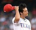 Yu Darvish (Rangers),<br /> APRIL 28, 2014 - MLB :<br /> Pitcher Yu Darvish of the Texas Rangers reacts during the Major League Baseball game against the Oakland Athletics at Globe Life Park in Arlington in Arlington, Texas, United States. (Photo by AFLO)