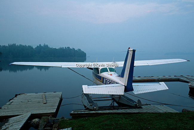 Float plane on Rangeley Lake, Rangeley, Maine, USA