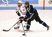 Zach Aston-Reese (NU - 12), Tanner Jago (Bentley - 4) - The visiting Bentley University Falcons defeated the Northeastern University Huskies 3-2 on Friday, October 16, 2015, at Matthews Arena in Boston, Massachusetts.