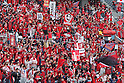 Kashima Antlers fans, April 23rd, 2011 - Football : 2011 J.LEAGUE Division 1, 7th Sec match between Kashima Antlers 0-3 Yokohama Marinos at National Stadium, Tokyo, Japan. The J.League resumed on Saturday 23rd April after a six week enforced break following the March 11th Tohoku Earthquake and Tsunami. All games kicked off in the daytime in order to save electricity and title favourites Kashima Antlers are still unable to use their home stadium which was damaged by the quake. Velgata Sendai, from Miyagi, which was hard hit by the tsunami came from behind for an emotional 2-1 victory away to Kawasaki. (Photo by Akihiro Sugimoto/AFLO SPORT) [1080]