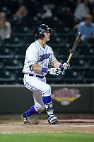 Jeff Gelalich (18) of the Winston-Salem Dash follows through on his swing against the Myrtle Beach Pelicans at BB&T Ballpark on May 11, 2017 in Winston-Salem, North Carolina.  The Pelicans defeated the Dash 9-7.  (Brian Westerholt/Four Seam Images)