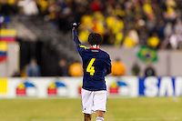 Juan Guillermo Cuadrado (4) of Colombia celebrates scoring. Brazil (BRA) and Colombia (COL) played to a 1-1 tie during international friendly at MetLife Stadium in East Rutherford, NJ, on November 14, 2012.