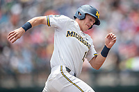 Michigan Wolverines first baseman Jimmy Kerr (15) rounds third base during Game 11 of the NCAA College World Series against the Texas Tech Red Raiders on June 21, 2019 at TD Ameritrade Park in Omaha, Nebraska. Michigan defeated Texas Tech 15-3 and is headed to the CWS Finals. (Andrew Woolley/Four Seam Images)