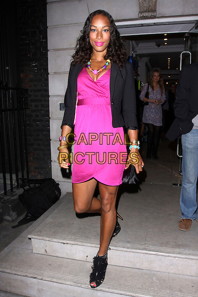 JADE JOHNSON.The Haiti Project and The Reuben Foundation Haiti Fundraiser, Altitude 360, 29th Floor Millbank Tower, London, England, UK..May 26th, 2010.full length pink dress black jacket blazer neon fluorescent peep toe shoes booties shooboots .CAP/AH.©Adam Houghton/Capital Pictures.